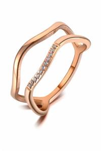 Nowy pierścionek kolor różowego złota złoty stal szlachetna cyrkonie drobny fale