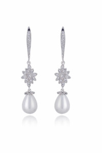 Nowe kolczyki srebrny kolor perełki cyrkonie białe sztuczne per...