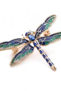 Nowa broszka ważka owad retro styl pin up złoty kolor zielony n...