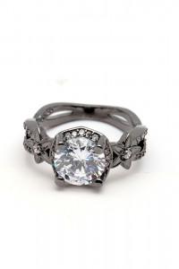 Nowy czarny pierścionek biała cyrkonia retro styl dark goth cze...