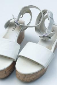 Sandały Koturny Białe H&M 37 Koturna 24 cm Biel