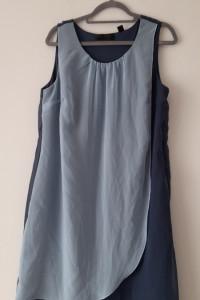 Granatowo błękitna zwiewna sukienka midi 44...