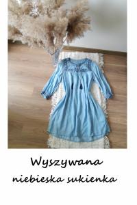 Wyszywana niebieska sukienka M L lyocell rozkloszowana luźna ch...