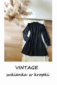 Vintage czarna sukienka w kropki bufki balonowe rękawy M L...