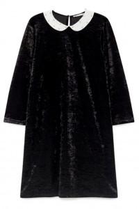 Mała czarna sukienka welurowa z kołnierzykiem pensjonarka...
