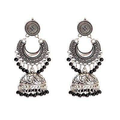 Kolczyki Nowe kolczyki indyjskie boho hippie etno folk srebrny kolor czarny ręczknie robione