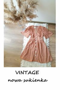 Nowa vintage sukienka na guziki 42 44 rozkloszowana na co dzień...