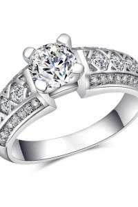 Nowy pierścionek srebrny kolor białe cyrkonie masywny elegancki...