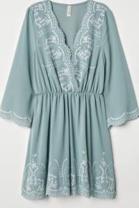 Miętowa wyszywana sukienka haftowana M L...