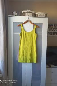 Limonkowa sukienka H&M rozmiar s