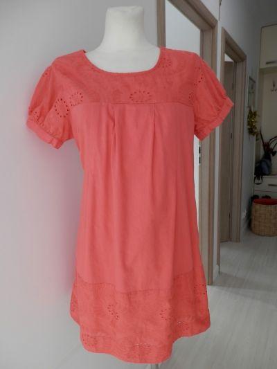 Suknie i sukienki Sukienka Ażurowa Koralowa Trapezowa Bawełniana M