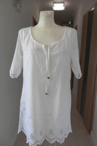 Tunika Sukienka Biała Ażurowa Bawełniana M...