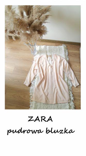 Bluzki Elegancka pudrowa bluzka Zara XL XXL guziki