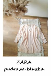 Elegancka pudrowa bluzka Zara XL XXL guziki...