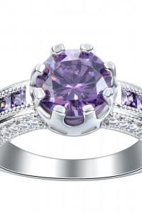 Nowy pierścionek srebrny kolor masywny fioletowe cyrkonie...