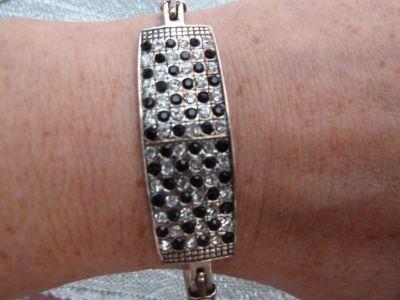 Bransoletki bransoletka srebrna z cyrkoniami biało czarnymi