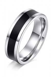 Nowy pierścionek obrączka stal szlachetna czarny srebrny kolor ...