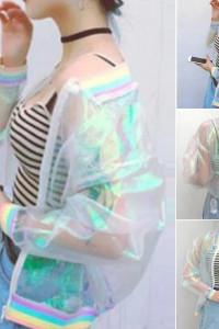 Transparentna bluza holograficzna