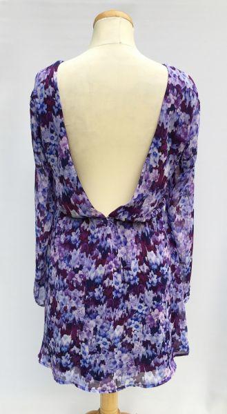 Suknie i sukienki Sukienka Kwiaty Fioletowa Bik Bok M 38 Odkryte Plecy Rozkloszowana