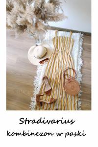Miodowy kombinezon w paski Stradivarius XS S żółty culotte wisk...