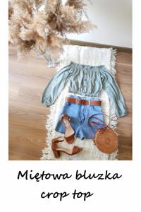 Miętowa bluzka hiszpanka vintage crop top XS S M ozdobne guziki...