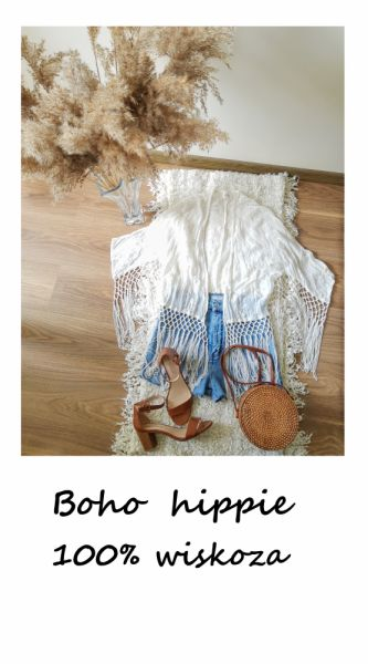 Pozostałe Biała narzutka vintage z frędzlami boho hippie wiskoza oversize