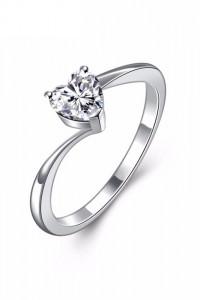 Nowy pierścionek prosty srebrny kolor biala cyrkonia serce...
