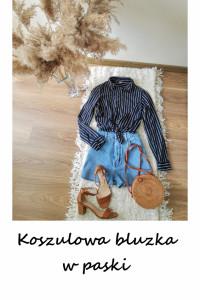Basic koszula bluzka w paski minimalizm elegancka...