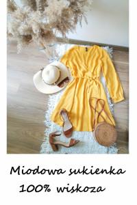 Letnia kopertowa sukienka M L wiskoza miodowa żółta z paskiem d...