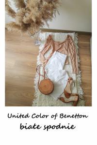 Białe spodnie jeansy United Colors of Benetton bawełna slim...