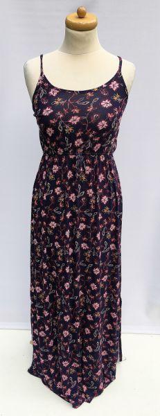 Suknie i sukienki Sukienka NOWA Kwiaty S M 36 38 Maxi Long Długa Granatowa