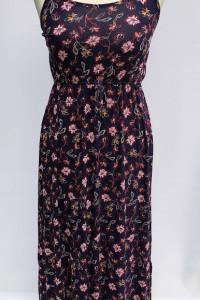 Sukienka NOWA Kwiaty S M 36 38 Maxi Long Długa Granatowa...