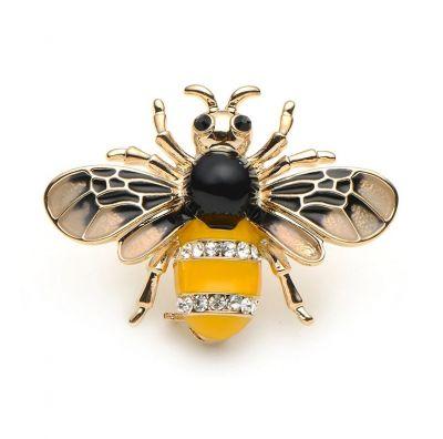 Broszki Nowa broszka osa pszczoła owad robak złota żółta czarna retro pin up