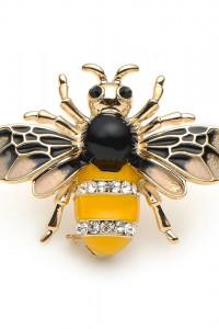 Nowa broszka osa pszczoła owad robak złota żółta czarna retro p...