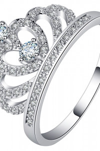 Nowy pierścionek korona tiara diaden srebrny kolor posrebrzany ...