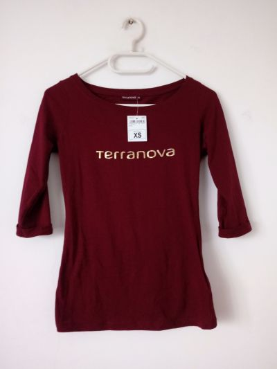 Bluzki NOWA bordowa bluzka 3 4 rękaw Terranova z napisem