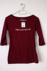 NOWA bordowa bluzka 3 4 rękaw Terranova z napisem...