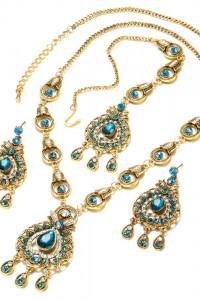 Nowa biżuteria indyjska naszyjnik kolczyki tikka ozdoba złoty n...