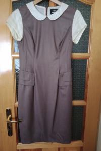 elegancka wełniana sukienka wykończona jedwabiem SIMPLE CREATIV...