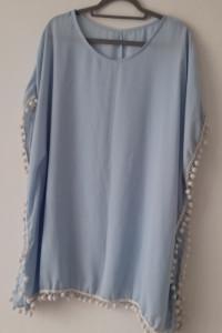 Błękitna sukienka plażowa z pomponami 44 46...