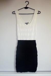 MANGO biało czarna taliowana elegancka ołówkowa sukienka zip 36...