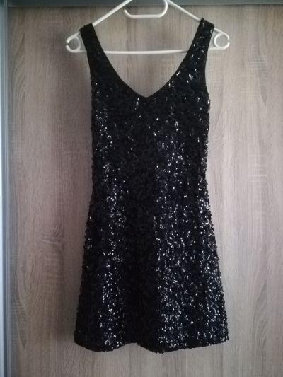 Suknie i sukienki Sukienka mała czarna cekiny świecąca