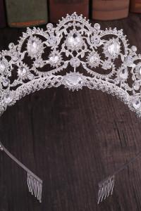Nowa korona srebrna srebrny kolor tiara diadem białe cyrkonie kamienie księżka królowa księżniczka