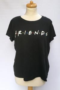 Bluzka Czarna Friends H&M L 40 Oversize Koszulka