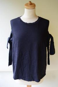 Bluzka Granatowa H&M XL 42 Odkryte Ramiona...