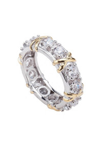 Nowy pierścionek obrączka srebrny złoty kolor białe cyrkonie duży masywny