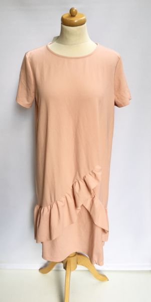 Suknie i sukienki Sukienka NOWA Falbanka Tom&Rose XL 42 Elegancka Różowa
