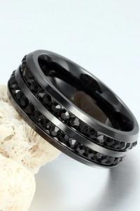 Nowy pierścionek obrączka czarny czerń masywny czarne cyrkonie elegancki stal szlachetna