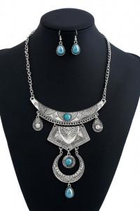 Nowy komplet biżuterii etno boho hippie fold srebrny kolor turk...