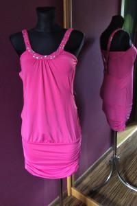 Piękna oryginalna różowa sukienka Redial pleciona warkocz...